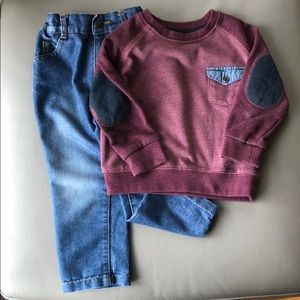 Pull Over Sweater w/Jeans & Pant Jeans Set Size 2T